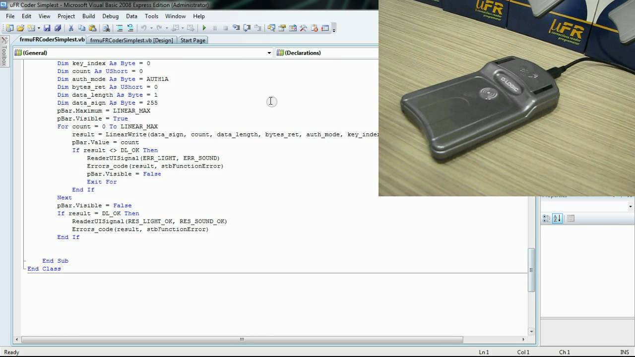 RFID NFC and Mifare programming - Visual Basic net (Windows) source code  example Simplest