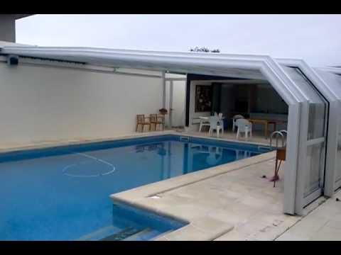 Cobertura telescopica motorizada youtube for Coberturas para piscinas