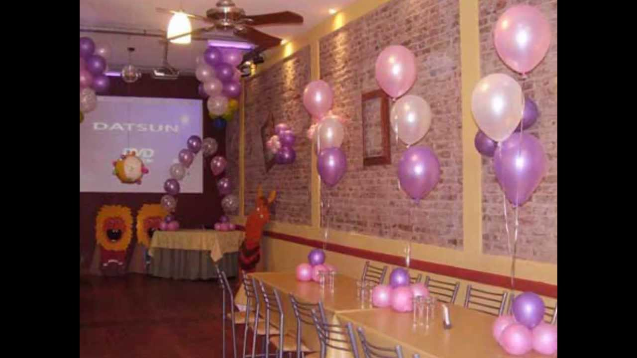 Decoracion con globos para fiestas infantiles youtube for Arreglos de salon con globos