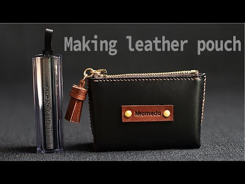 DIY small leather pouch / Making coin purse / Leather crafting