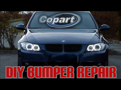 Diy Bumper repair & new led headlights on the wrecked Copart bmw e90