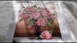 Розы в вазе завершение/ вышивка бисером