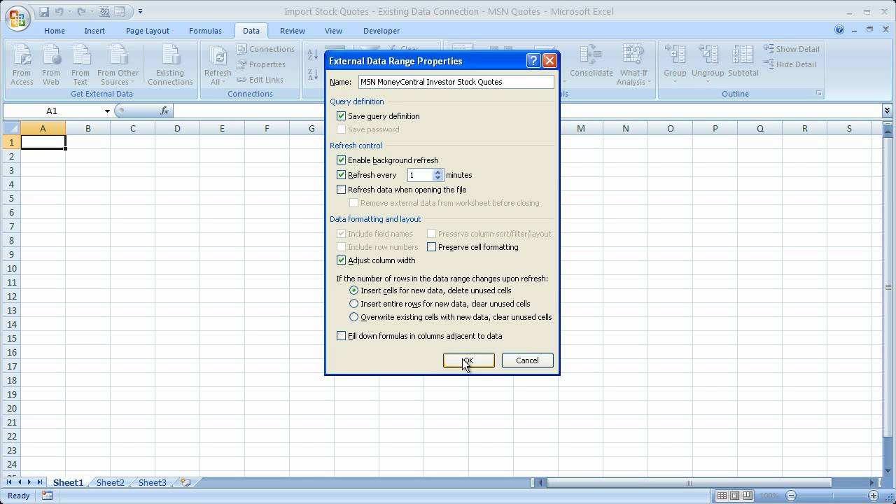 Msn Money Stock Quotes Finance In Excel 1  Live Stock Quotes In Microsoft Excel  Msn