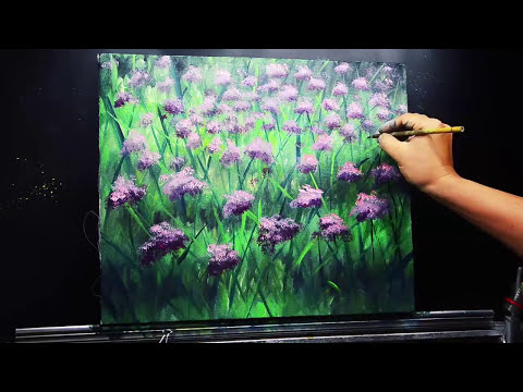 Acrylic Painting Basic Lavender Flowers with style and techniques | EASY ART TUTORIAL for BEGINNERS