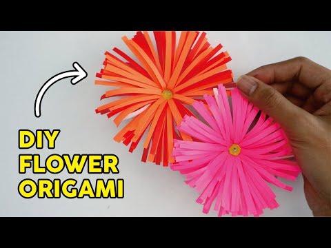 CARA MEMBUAT BUNGA ORIGAMI MUDAH & INDAH   How to fold flowers paper easy Tutorial wow