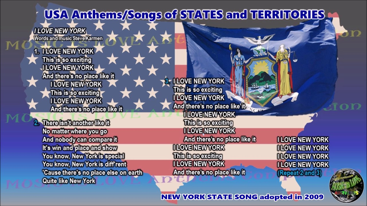 New York State Song I LOVE NEW YORK with music, vocal and ...