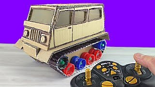 How To Make a Cardboard Car On Caterpillars / Russian UAZ On Tracks and Radio Control