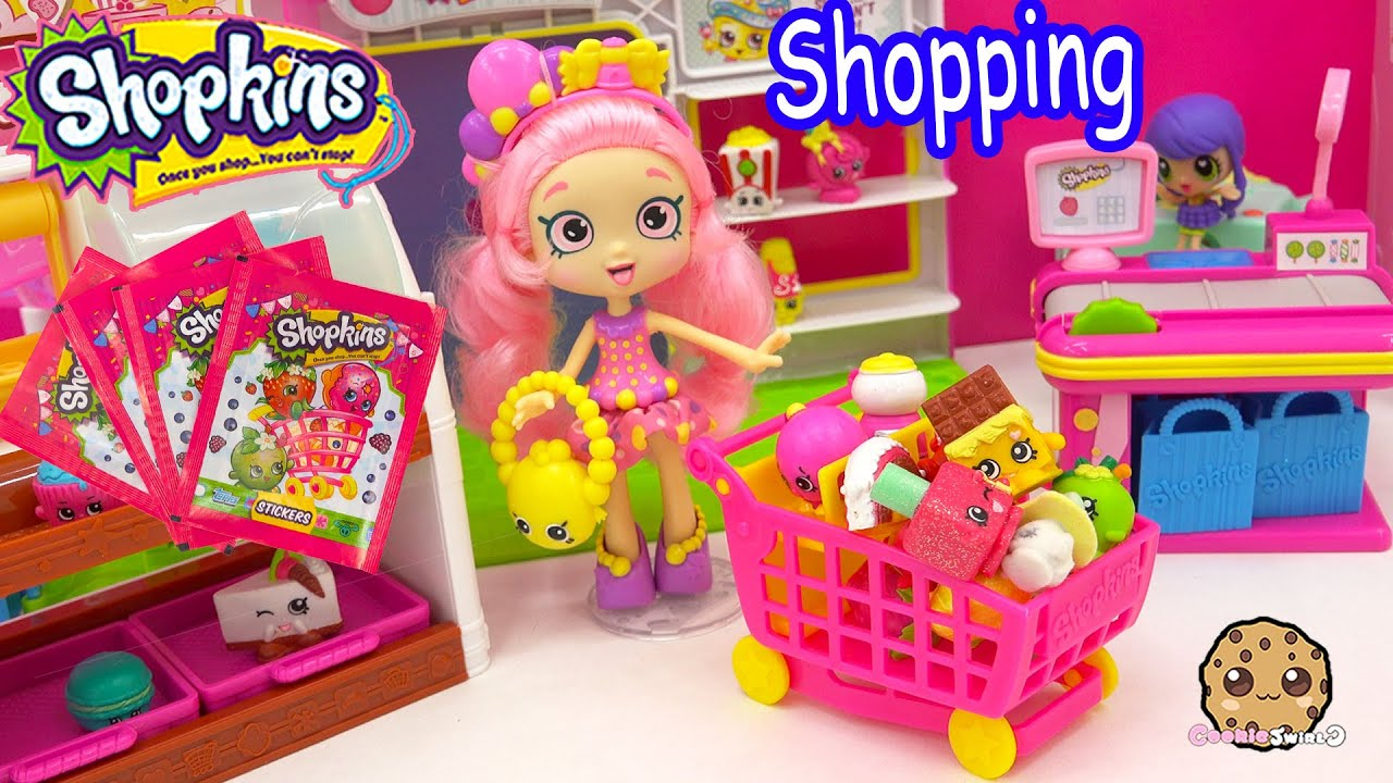 Shopkins Shoppies Doll Bubbleisha Small Mart Shopping With Stickers Blind Bags Youtube