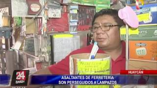 Huaycán: Asaltantes de ferretería son perseguidos a lampazos