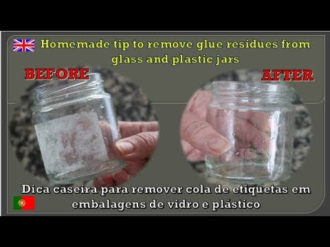 DIY Homemade tip to remove glue residues from glass and plastic jars