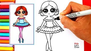 Aprende a dibujar una BAILARINA DE BALLET Kawaii | How to draw a Cute Ballerina Easy