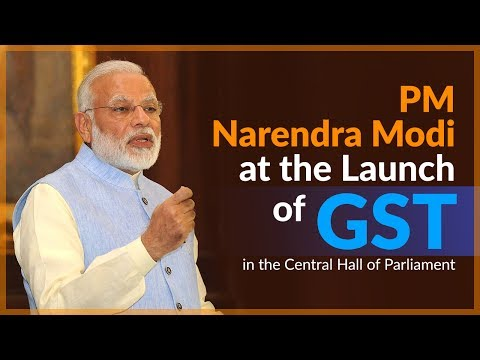 PM Narendra Modi at the Launch of GST in the Central Hall of Parliament