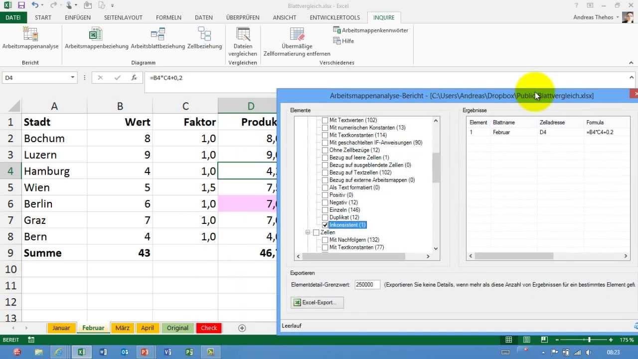 Excel # 357 - Tabellenblätter vergleichen - nur Formeln überprüfen ...