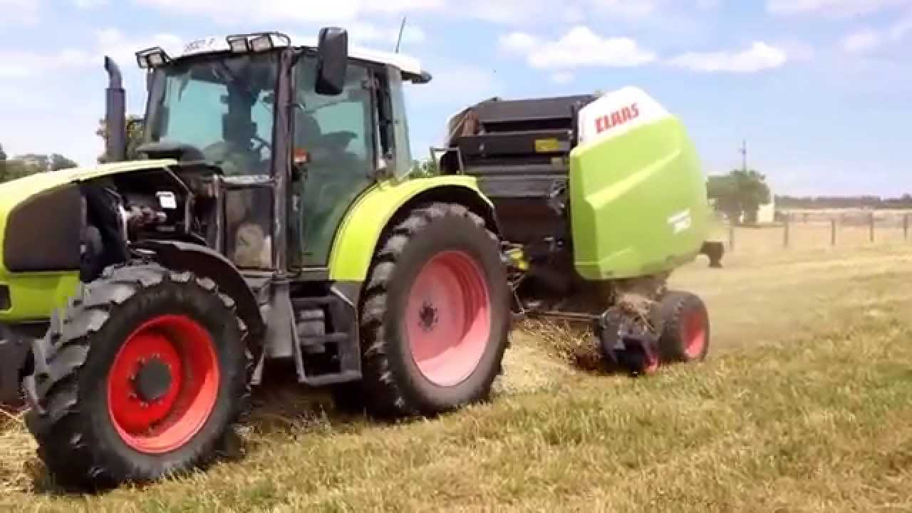 Claas Ares 566 RZ and Variant 360 baler - Orrvale December 2014