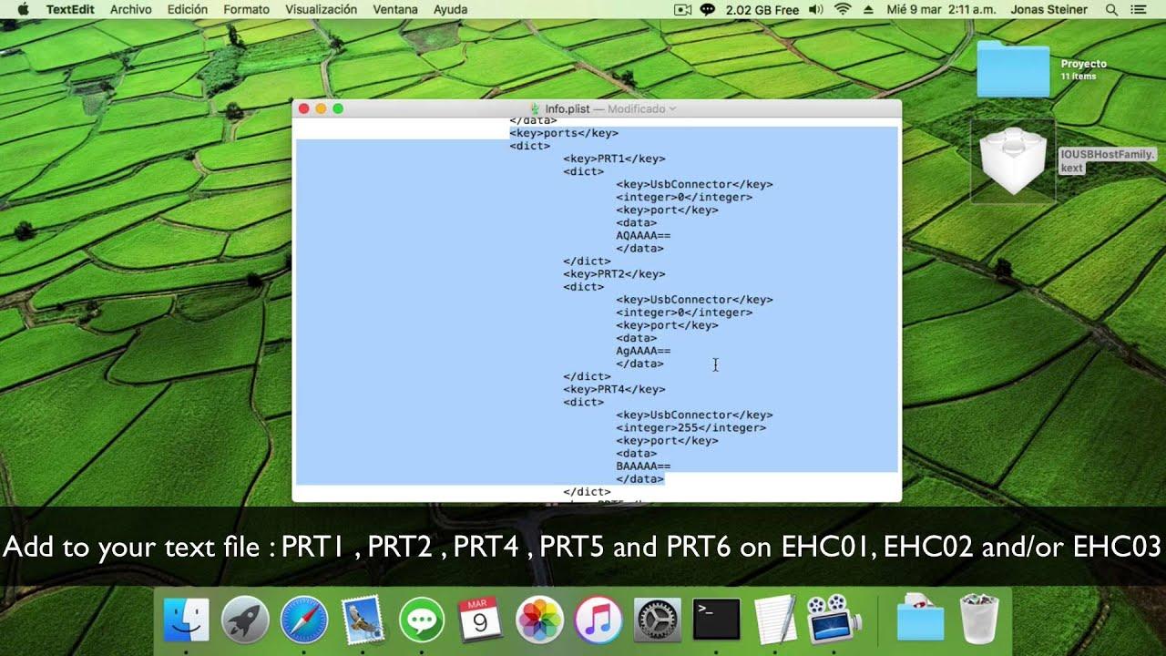 Creating USB 2 0 injector, enable all ports Mac OS X El Capitan