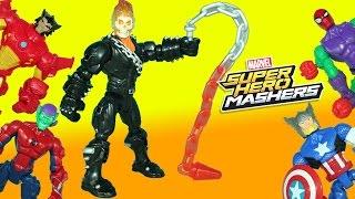 Marvel Super Hero Mashers Ghost Rider  Spider-Man Thor Wolverine get Spooked