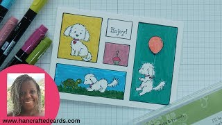 How to make a comic strip card with Bella & Friends from Stampin