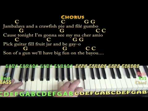 Jambalaya (Hank Williams) Piano Cover Lesson in C with Chords/Lyrics - C G
