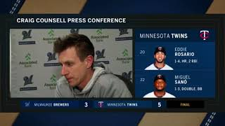 Craig Counsell on Brewers' 5-3 loss to Twins