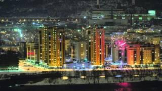 новогодний салют 2014 в Красноярске  New Year's fireworks 2014 in Krasnoyarsk