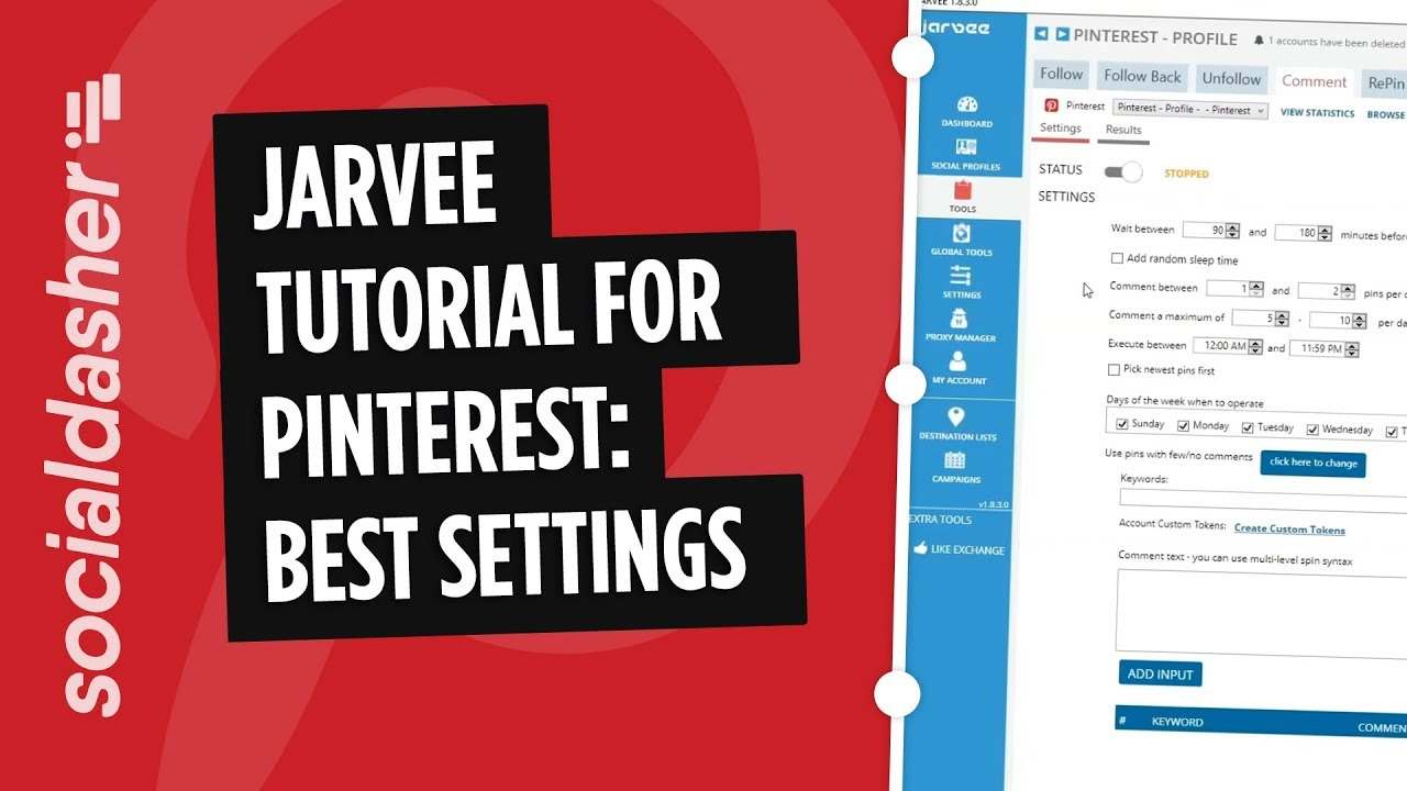 Jarvee Pinterest Tutorial - Best Settings 2018