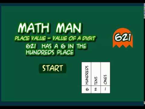 Math Man Game - Place Value Of A Digit - Math Video