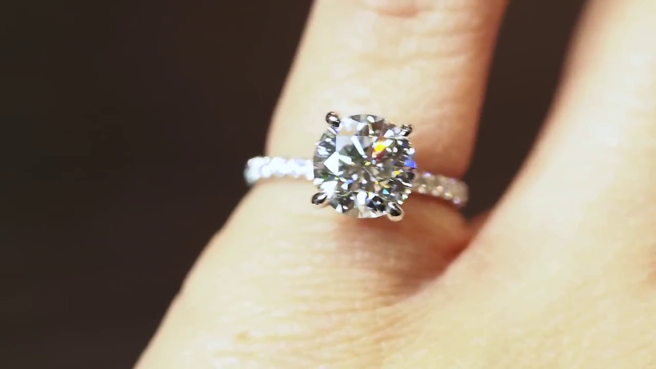 2ct Round Solitaire Engagement Ring With Diamonds On Gs And Band You