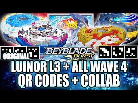 QR CODES LUINOR L3 ORIGINAL + ALL WAVE 4 QR CODES + ZANKYE COLLAB! BEYBLADE BURST APP QR CODES