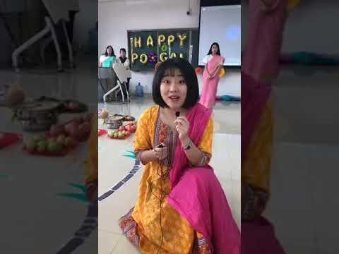 Happy Pongal celebrate Chinese Tamil girls China Tamil University student celebrate