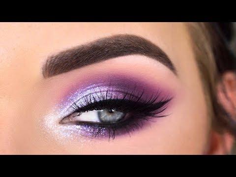 Huda Beauty Mercury Retrograde Palette   Purple Glitter Eye Makeup Tutorial thumbnail