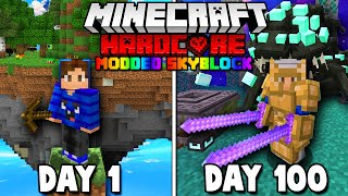 I Survived 100 Days in Modded Skyblock on Hardcore Minecraft... Here's What Happened