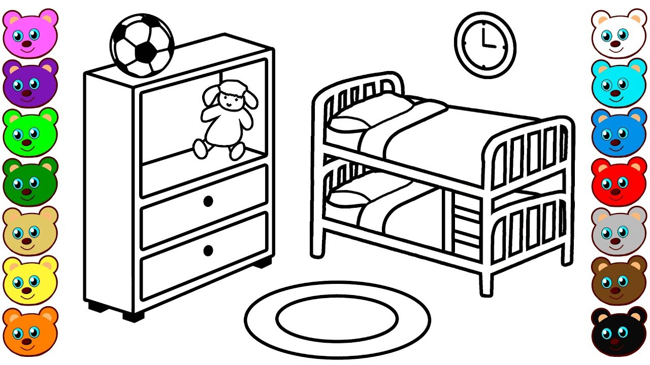 bedroom coloring pages Brother & Sister Bedroom   Coloring Pages for Children   YouTube bedroom coloring pages