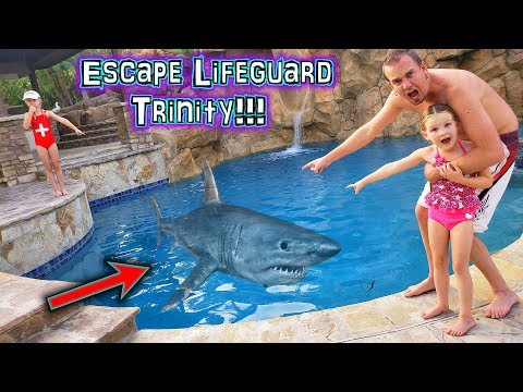 Escape the Lifeguard Trinity! Shark in the Pool!!!