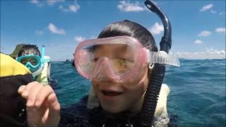 沖縄青の洞窟のシュノーケル風景です、Goproで撮影しています。 ダイビ...