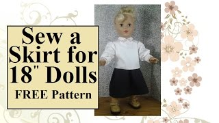 FREE 18 Inch Doll Clothes Patterns: Sew a Skirt for 18 Doll (Like AG Dolls)