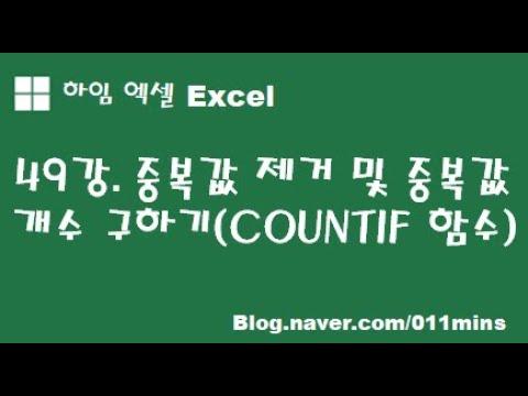 (하임 엑셀 49강) 중복값(데이터) 제거 및 중복(데이터) 개수 구하기 - COUNTIF 함수