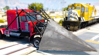 Train Accidents #2 - Semi-Truck vs Train - GTA 5