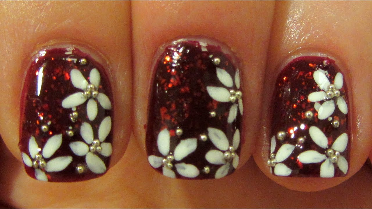 Dark Red Flakie Floral Design with Silver Micro Beads on Short Nails ...