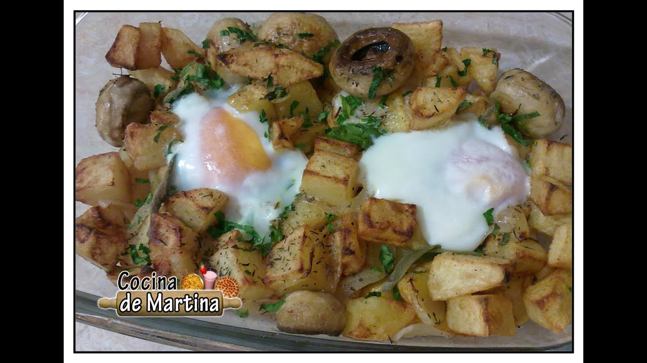 Huevos con patatas y champi ones one pan eggs chips for Cocina de martina