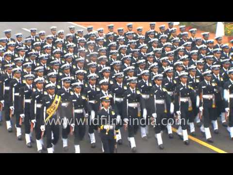 Indian Navy contingent marches at Republic Day 2017