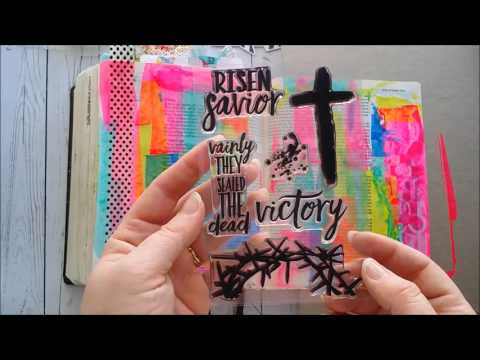 HKC I AM Crucified with Christ Bible Journaling Tutorial Stamping Growing Meadows TaiBender