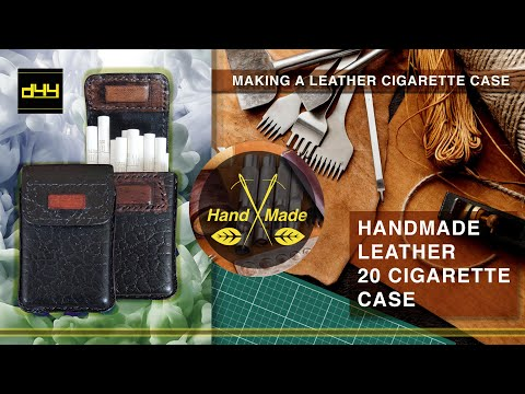 Handmade leather cigarette case:20 cigarette case: wet leather molding/forming: veg tanned leather