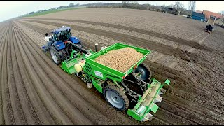 Potato Planting  | New Holland T7070 Blue Power + Miedema Structural belt planter Loonbedrijf Breure