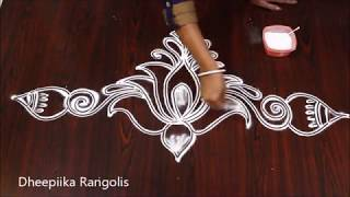 creative lotus border rangoli design without dots l lotus kolam using earbud l friday muggulu
