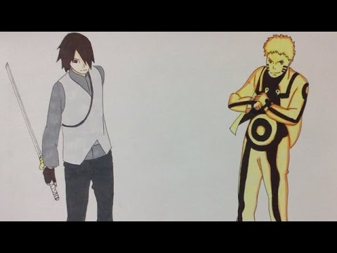 Drawing naruto and sasuke vs momoshiki from borutonaruto the movie