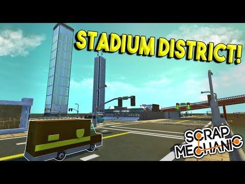 STADIUM DISTRICT & SHOPPING MALL! - Scrap Mechanic Gameplay - Micro City EP 2