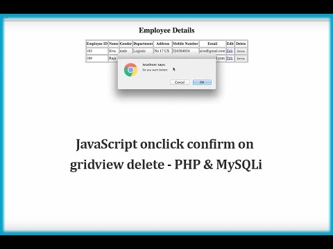 JavaScript onclick confirm on gridview delete - PHP & MySQLi - YouTube