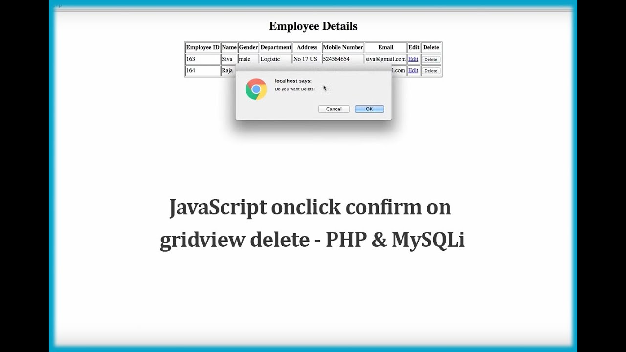 JavaScript onclick confirm on gridview delete - PHP ...