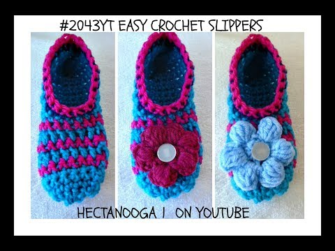 HOW TO CROCHET EASY SLIPPERS – Any size, free crochet pattern , 2043YT