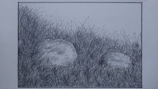 How to draw grass using pencil for landscape